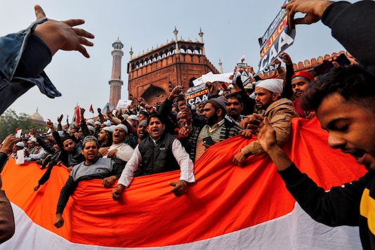 File photo of a demonstration against the new Citizenship Act at the Jama Masjid in New Delhi.