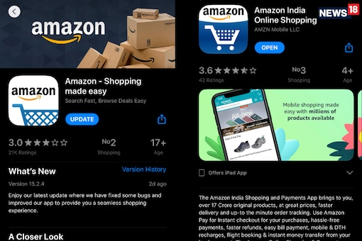 The tale of two Amazon apps! (Image: News18)