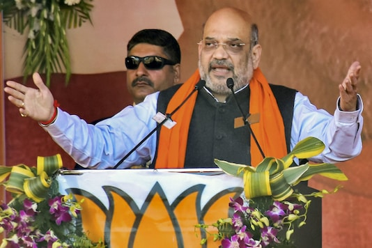 Union Home Minister Amit Shah addresses during a CAA awareness event, in Jabalpur on Sunday (PTI)