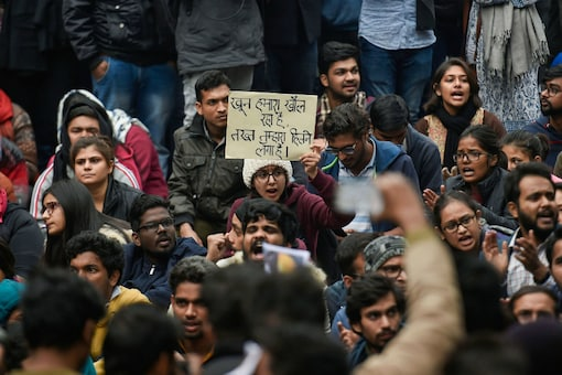 File image of JNU students protesting.