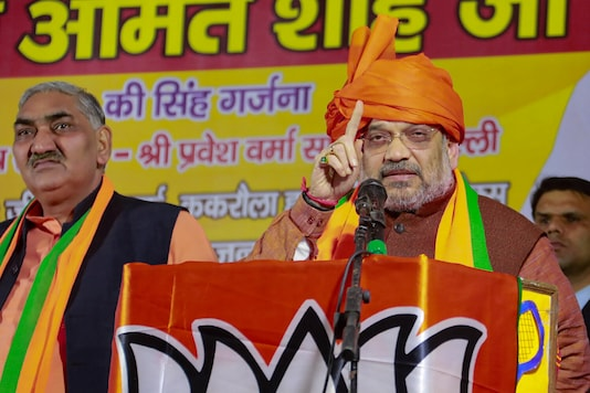 Union Home Minister Amit Shah during an election campaign ahead of the forthcoming Delhi Assembly elections, at Matiala constituency in New Delhi, Thursday, Jan. 23, 2020. (PTI Photo)