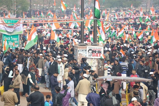 An Anti-CAA protest at the Clock Tower in Lucknow. (File photo)