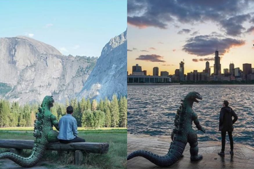 This Instagrammer Is Photoshopping a Godzilla Into all Of His Travel Photos