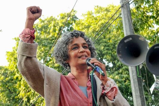 File photo: Author Arundhati Royaddresses a gathering, during a protest against the Citizenship Amendment Act (CAA), outside the Jamia Millia Islamia University in New Delhi, Saturday, Jan. 11, 2020. (PTI Photo)