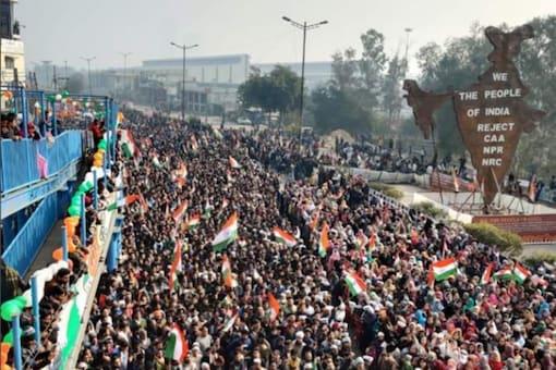 Republic Day celebrations at New Delhi's Shaheen Bagh. (Image : Twitter/@UmarKhalidJNU)
