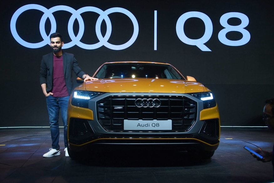 India's cricket captain Virat Kohli attends the India launch of the Audi Q8 car in Mumbai. Audi has launched the Q8 SUV in India at Rs 1.33 crore (ex-showroom). The car comes with a 3.0-litre TFSI engine that generates 340 hp and 500Nm that makes it capable of touching triple-digit speeds in 5.9 seconds. (Image: Viral Bhayani)