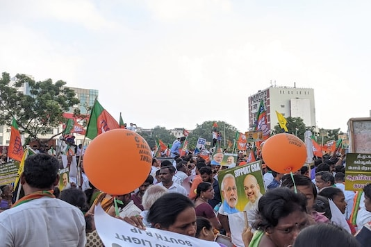 At the BJP rally in Chennai on Tuesday. (News18)