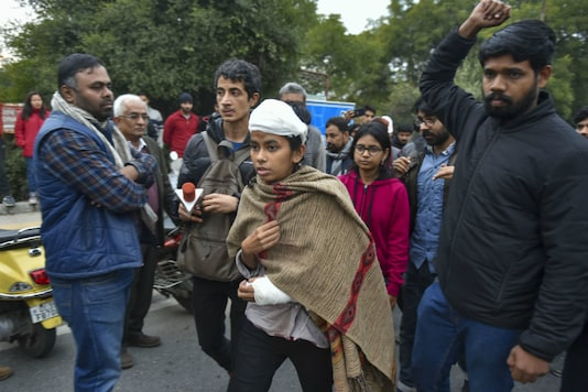JNUSU President Aishe Ghosh who was injured in the mob attack. (PTI)