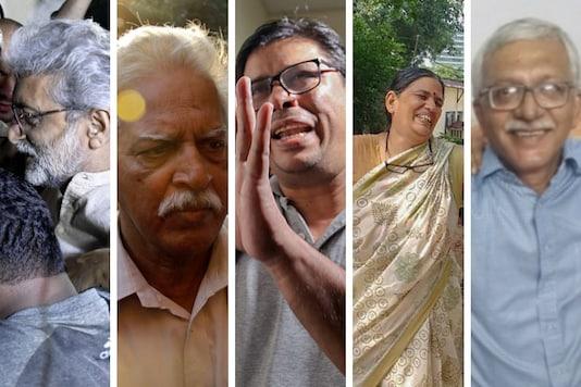 L-R: Gautam Navlakha, Varavara Rao, Arun Ferreira, Sudha Bharadwaj and Vernon Gonsalves were among the activists arrested by Pune police.