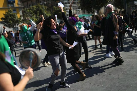 Activists perform the song 'A rapist in your path' during a demonstration in support of legal and safe abortion in Mexico City. (Reuters)