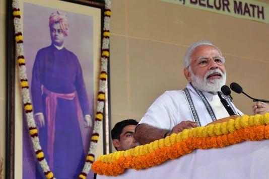Prime Minister Narendra Modi at the Belur Math on Swami Vivekananda's birth anniversary on Sunday.