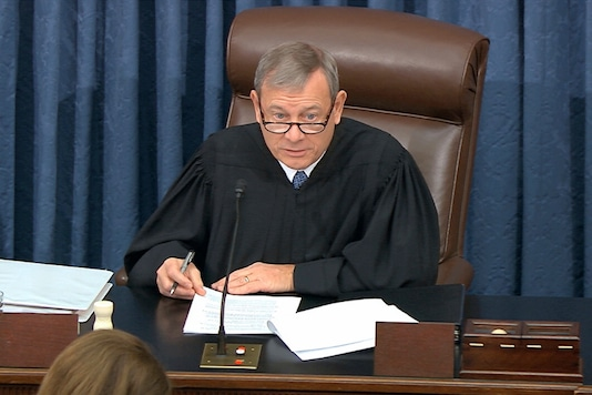 In this image from video, presiding officer Supreme Court Chief Justice John Roberts speaks during the impeachment trial against President Donald Trump in the Senate at the U.S. Capitol (AP)