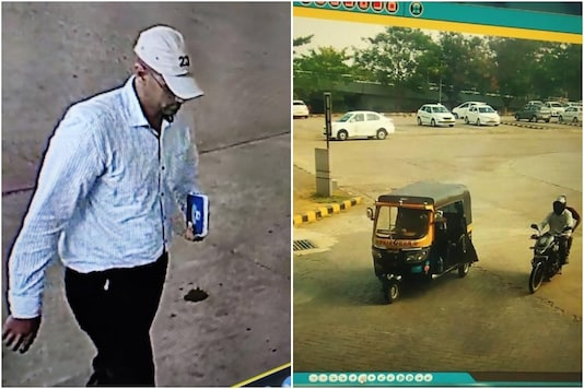 Mangaluru Police released photographs of suspect and the autorickshaw he was seen leaving in, in the CCTV footage. (Image: Twitter/ANI)