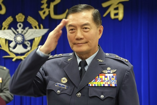 In this March 7, 2019, file photo, Taiwanese top military official Shen Yi-ming salutes as he is introduced to journalists during a press conference in Taipei, Taiwan. (AP)