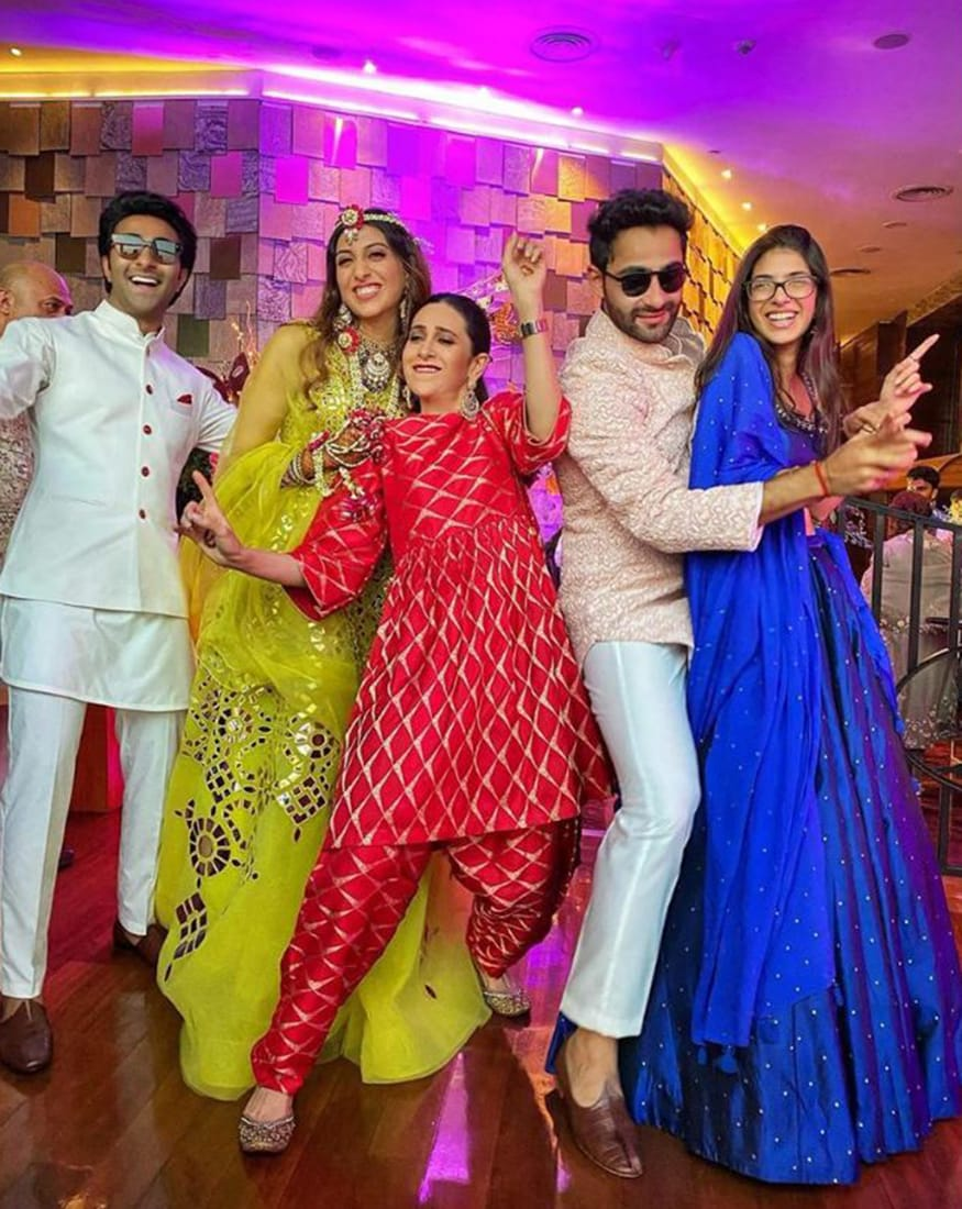It is a festive and exciting time in the Kapoor household with actor Armaan Jain's wedding around the corner. As is the case with most big fat weddings, a number of activities have been lined up leading to the main event. Here's a look at the pictures from one of these, Armaan Jain's sangeet ceremony, which was several celebrities attending the event. (Image: Viral Bhayani)