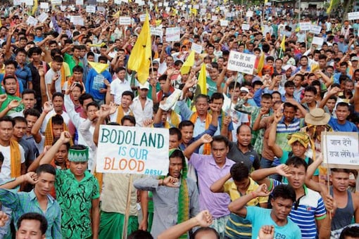 Activists of Bodo organisations during an earlier blockade of the national highway 31 to demand a separate state of Bodoland in Assam. (File photo: PTI)