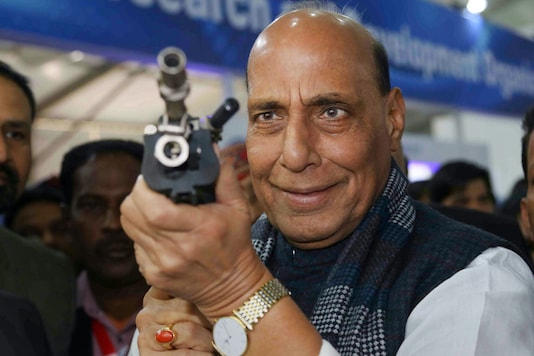 Defence Minister Rajnath Singh during the 11th edition of DefExpo, India's biennial military exhibition that seeks to showcase the potential of the country to become a global defence manufacturing hub, in Lucknow. (Image: PTI)