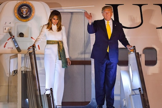 US President Donald Trump and First Lady Melania Trump upon their arrival at the AFS Palam in New Delhi, Monday, February 24, 2020. Trump is on a two-day visit to India. (Image: PTI)