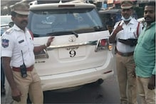 Toyota Fortuner With Faulty Number Plate Asked to Fix It On Spot by Hyderabad Traffic Police