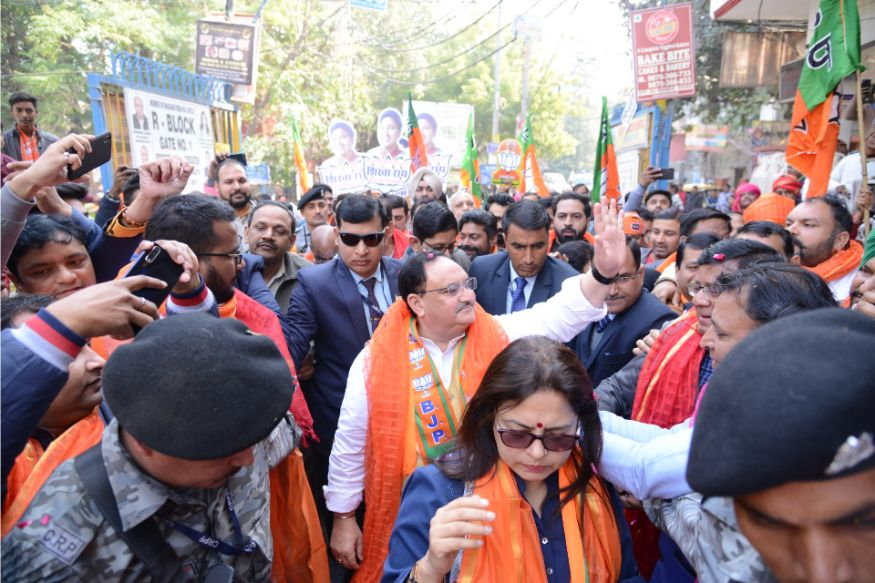 As the date for polling in the Assembly elections is inching closer, the national capital saw high profile leaders coming in support of their BJP candidates. BJP president Jagat Prakash Nadda was seen campaigning for Shika Rai in Greater Kailash on February 02, 2020. (Image: Subhash Barolia)