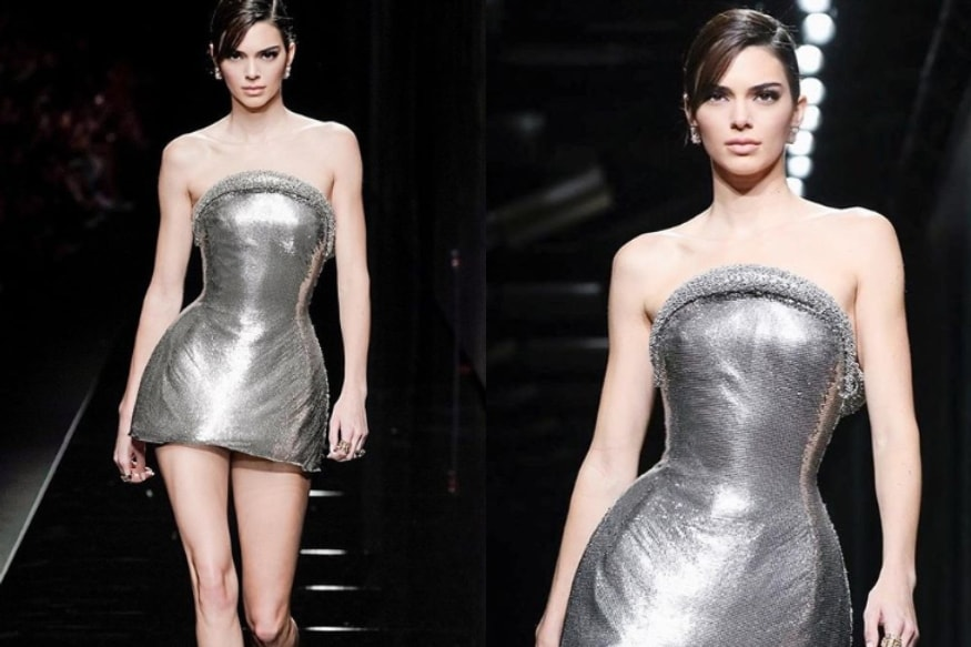 Kendall Jenner Walks Versace Runway in Silver Outfit, See Pics