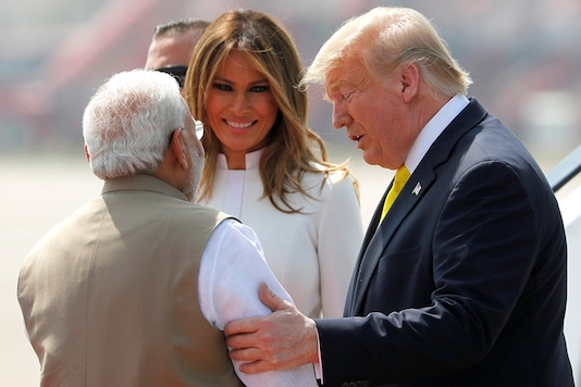US President Donald Trump greeted by PM Modi upon his arrival (Image: Reuters)