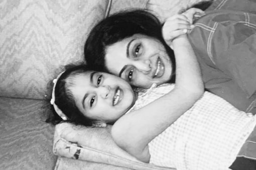 """On Sridevi's second death anniversary, Janhvi Kapoor shared an image of Sridevi from her childhood. Janhvi as a toddler can be seen hugging Sridevi in the black white picture and captioned it as, """"Miss you everyday."""" (Image: Instagram)"""