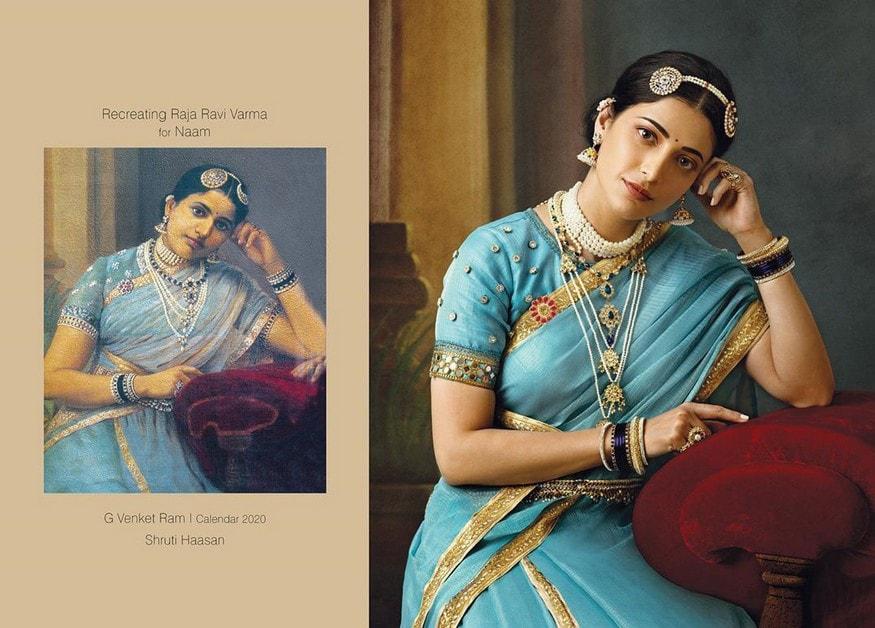 Image result for सामंथा, श्रुति हासन से लेकर राम्या कृष्णन तक 2020 के कैलेंडर के लिए 114 साल पुरानी पेंटिंग लाती हैं