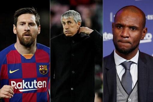 Lionel Messi, Quique Setien and Eric Abidal (Photo Credit: Reuters)
