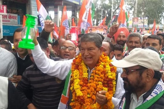 File photo of former CM and senior Congress leader Harish Rawat in campaign mode. (Image credit: Facebook)