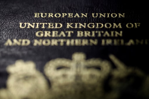 A close-up detail of the cover of a European Union British passport. (Reuters)