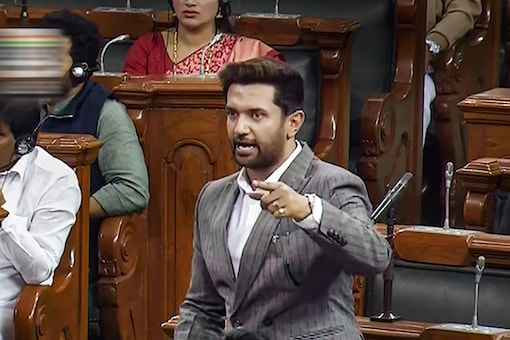 LJP MP Chirag Paswan speaks in the Lok Sabha during the Budget Session of Parliament in New Delhi on Monday. (PTI)