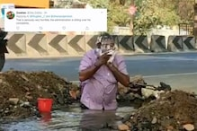 Watch: Man Takes a Dip in Roadside Pit Filled with Drinking Water to Protest Leakage