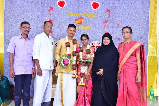 Rajeshwari was raised by the couple as their own ever since her parents passed away.  The ceremony, held on Sunday at a Bhagavathi temple in Kerala.