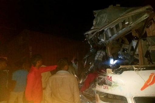 Photo of the KSRTC bus that met with an accident in Tamil Nadu on Thursday.