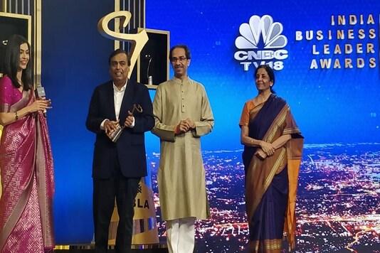 Union finance minister Nirmala Sitharaman and Maharashtra chief minister Uddhav Thackeray presented the award to Mukesh Ambani.