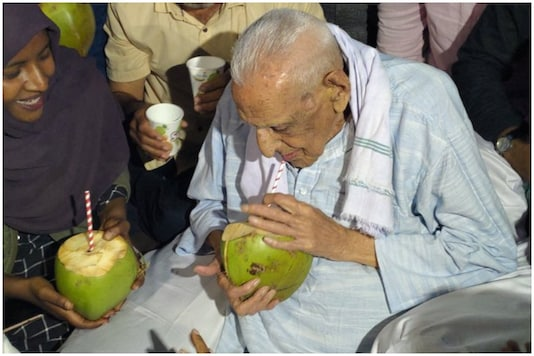 File photo of centenarian freedom fighter HS Doreswamy.