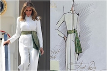 Melania Trump Adds Indian Touch to White Jumpsuit with Green Banarasi Sash for Ahmedabad Visit