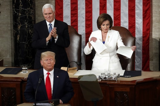 House Speaker Nancy Pelosi of California, tore her copy of President Donald Trump's State of the Union address after he refused to shake hands with her (AP)
