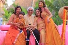 Shweta Tiwari Twins with Daughter Palak and Son Reyansh in Yellow at Family Wedding
