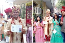 Groom Turns up in Sherwani and Headgear to Vote for Delhi Elections, Dances in Queue