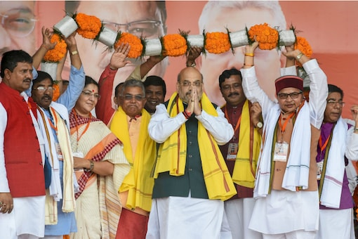 Union Home Minister Amit Shah at a rally in Kolkata on Sunday. (PTI)