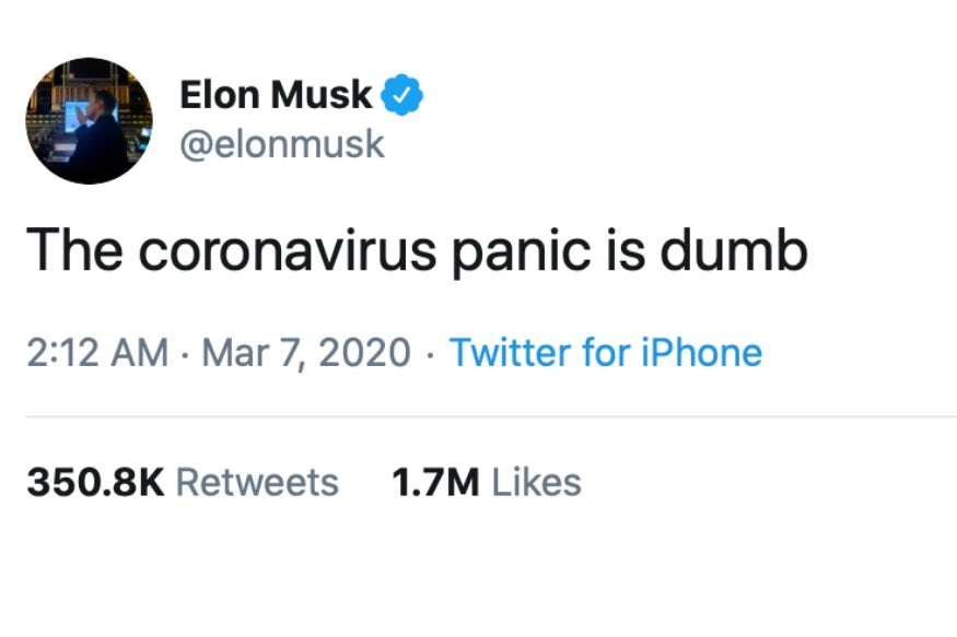Image of article 'Elon Musk Thinks Coronavirus Panic is Dumb, But Chances Are He is Absolutely Wrong'