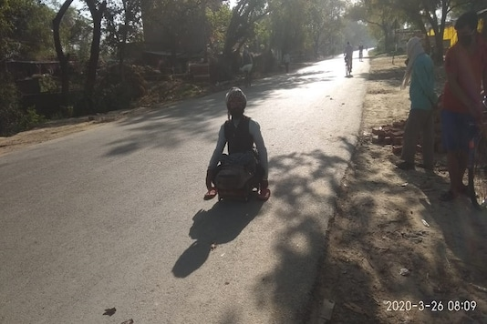The disabled man travelled at least a 100km to reach his hometown in Jaunpur.