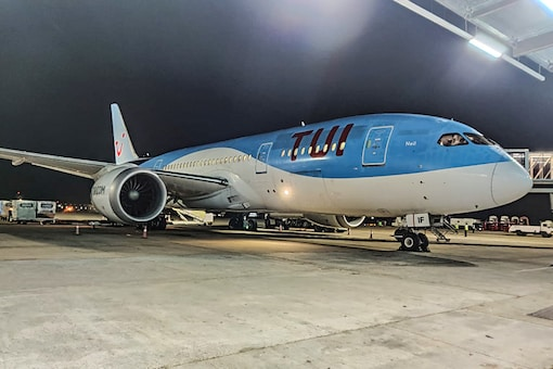 """The relief flight that took the stranded British tourists. (Photo: Twitter/<a href=""""https://twitter.com/aaigoaairport/status/1242544903143542792"""" target=""""_blank"""">Goa Airport</a>)"""