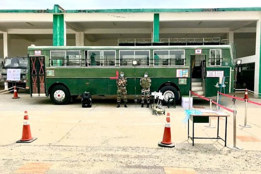 The modified bus for COVID-19 patients. (Image source: Twitter/ADG PI - INDIAN ARMY)