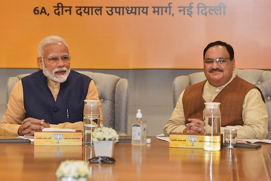 Prime Minister Narendra Modi during Central Election Committee meeting at BJP HQ in New Delhi, Tuesday, March 10, 2020. BJP National President JP Nadda is also seen. (Image: PTI)