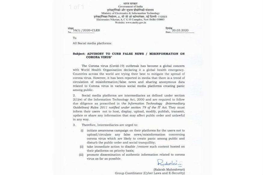 Indian Government Asks Social Media Platforms to Remove Coronavirus Misinformation