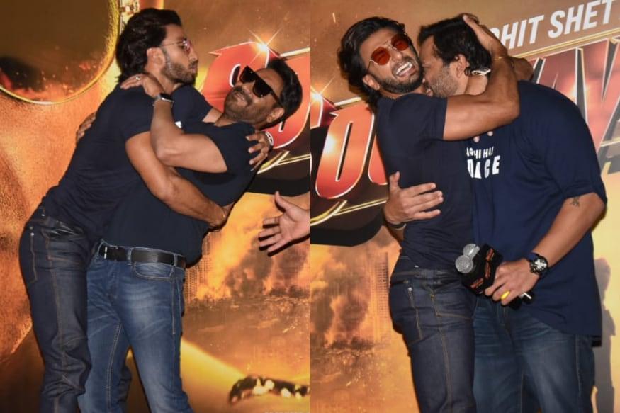 Image result for sooryavanshi trailer launch ranveer hugs rohit