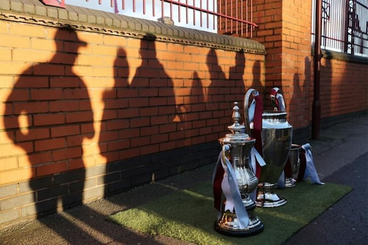Replica trophies of English football (Photo Credit: Reuters)